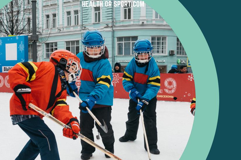 Kids enjoying ice hockey
