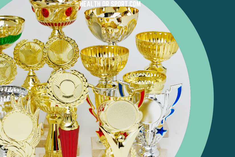 a collection of sports trophies